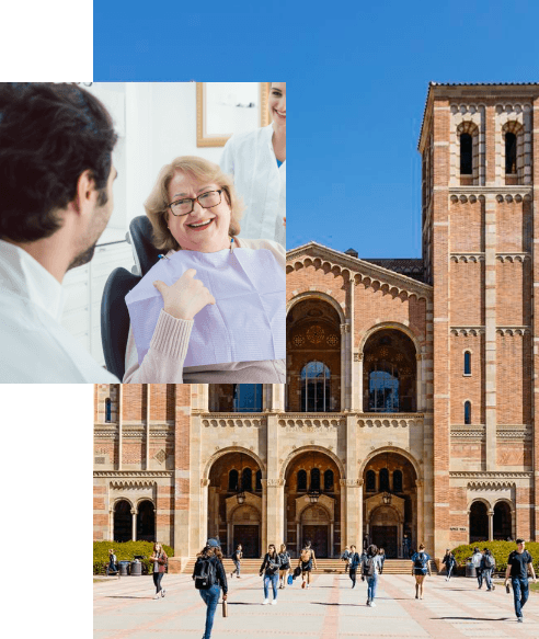 Overlapping images of a woman smiling at dentist and outside view of dental school building